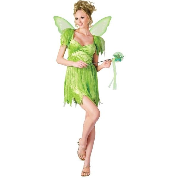 Neverland Fairy Adult Costume ($30) ❤ liked on Polyvore featuring costumes, halloween costumes, adult peter pan costume, adult tinkerbell costume, captain hook costume, rope belt and fairy costume