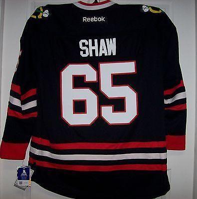 SHAW Chicago Blackhawks Reebok Premier BLACK Jersey