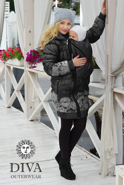 3in1 Babywearing Winter Coat Diva Nero.  Winter coat for front carrying, regular use or during pregnancy.