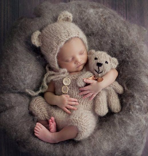 Easy Knitting Pattern for Newborn Dungaree romper, Baby Bear Bonnet, Baby bear toy stuffie