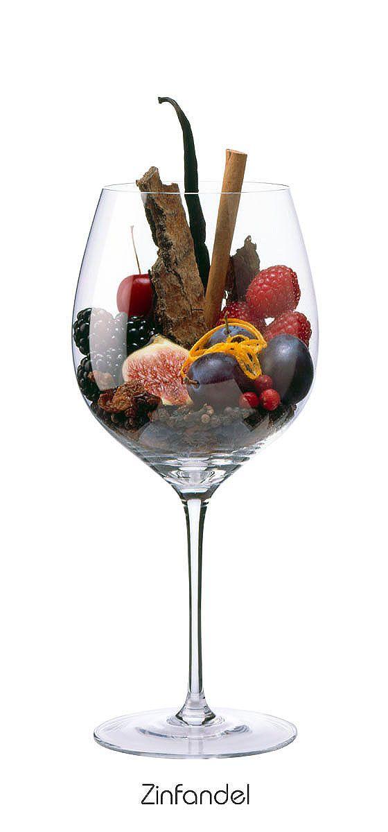 ZINFANDEL  Cherry, blackberry, fig, raspberry, plums, raisins, vanilla, orange peel, cloves, tobacco, pepper, wood, cinnamon
