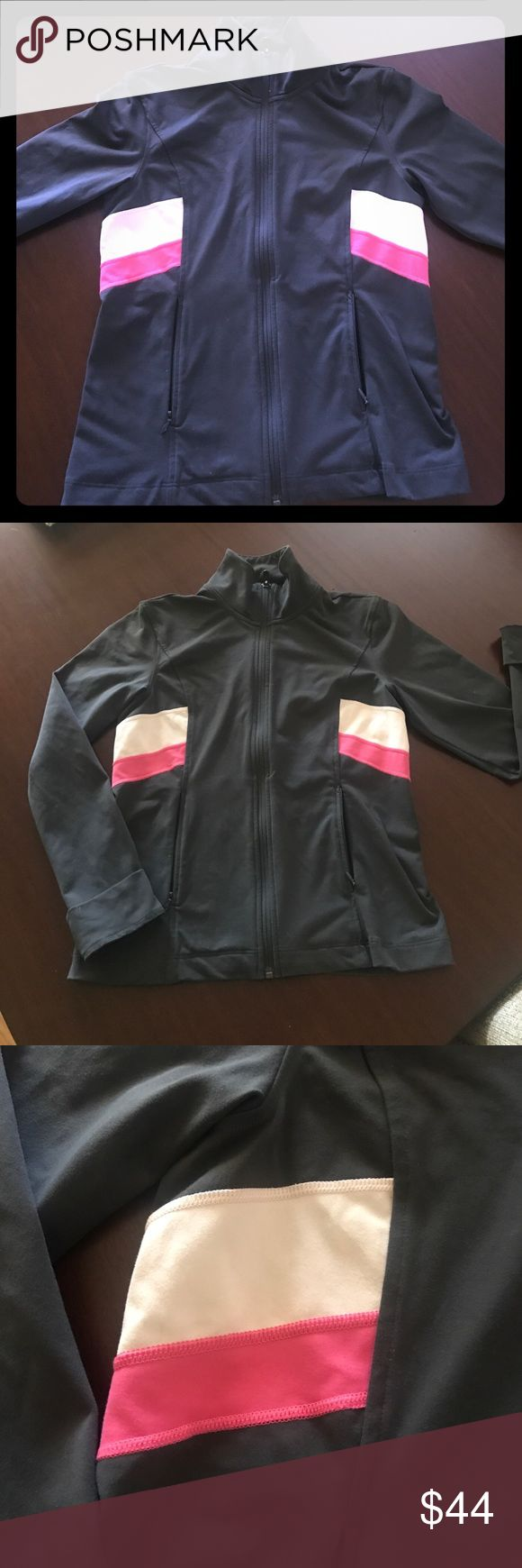 ⭐️ Victoria's Secret body jacket Like new worn one time Victoria's Secret athletic jacket.  Great condition, gray with light and dark pink stripes Victoria's Secret Jackets & Coats