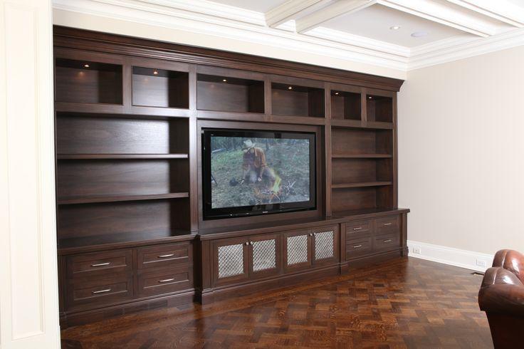 Stunning built in family room unit with custom mesh panels