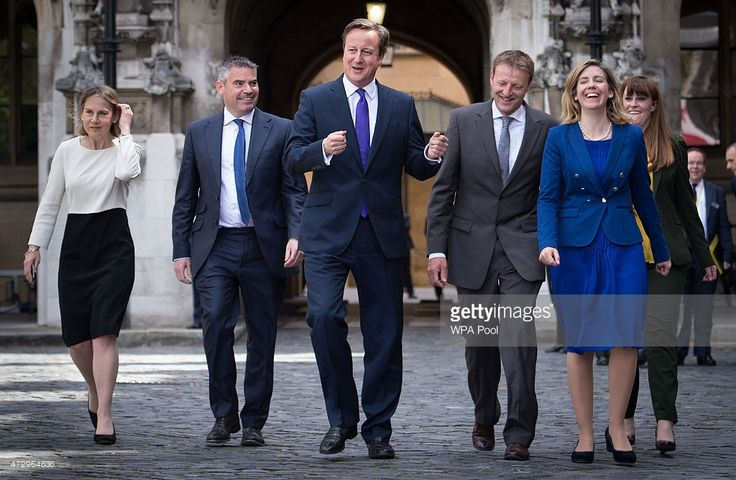 British Prime Minister David Cameron with newly elected Conservative Party MPs (L-R) Tania Mathias, Craig Tracey, Derek Thomas, Andrea Jenkyns and Kelly Tolhurst at the Houses of Parliament on May 11, 2015 in London, England. Prime Minister David Cameron continues to announce his new cabinet with many ministers keeping their old positions.