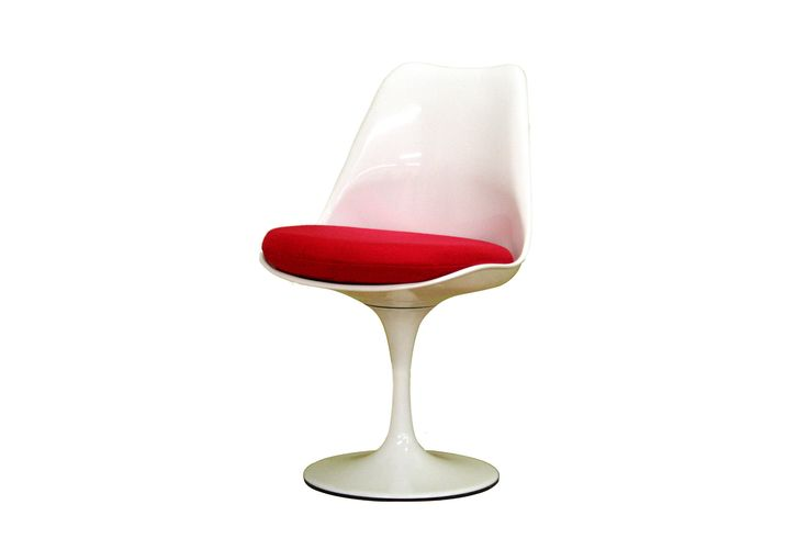 Baxton Studio Lanza Steel-Base White Molded-Plastic Chair with Red Cushion