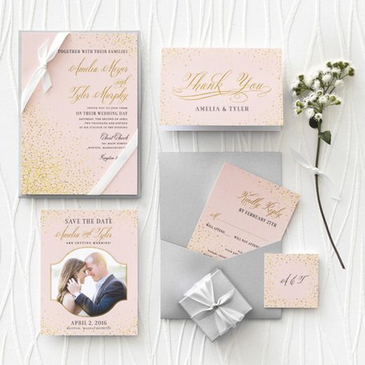 Effervescent Sparkle - Signature White Wedding Invitations - East Six Design - Chenille - Pink : Front