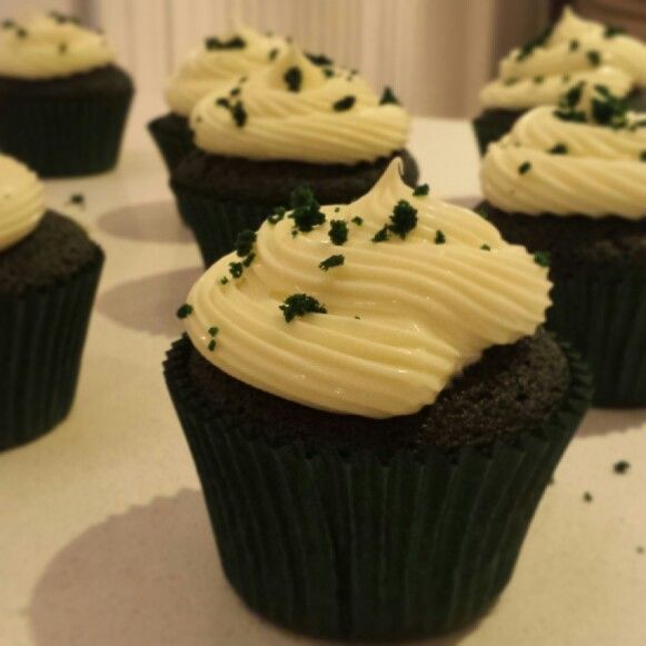 Green Velvet Cupcakes - in celebration of St Patricks day :)