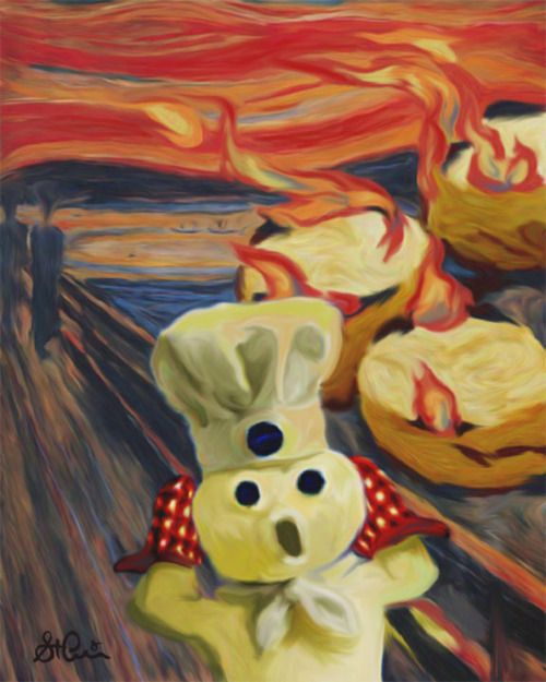 The Scream: Edvard Munch 1893  Pillsbury Dough Boy Parody I enjoy this remake because you can see the burning Pillsbury products in the back and this could be use for marketing a Pillsbury product