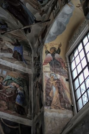 self healing unrestored fresco of the Trinity Cathedral of Alexander Svirsky Monastery Stock Photo