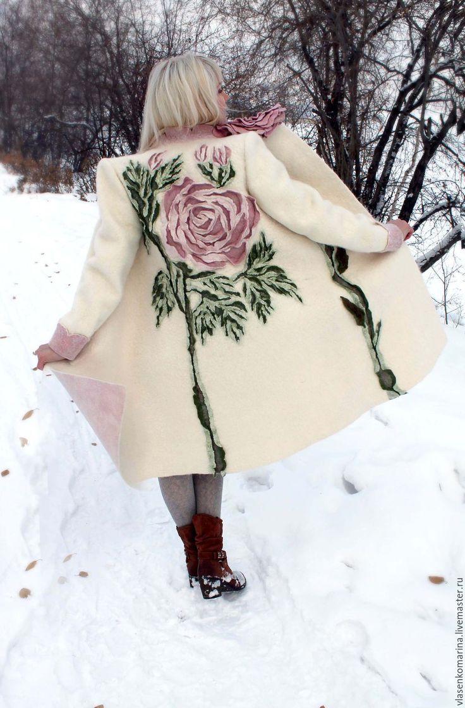 Купить Пальто валяное Снежная роза - белый, цветочный, пальто валяное, пальто войлочное