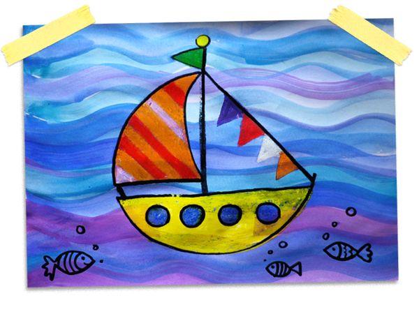 Schiff Wachs und Wassermalfarben