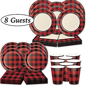 Available On Amazon - Red and Black Party Supplies - Buffalo Plaid Decorations - Lumberjack Flannel -56 items- Napkins Plates Cups - Birthday Party Kit or Baby Shower Set - (8 Guests) MAKES LUMBERJACK THEMED BUFFALO PLAID BIRTHDAY PARTIES EASY AND FUN - We've done all the packing and sorting so you don't have to! With your Red and White Buffalo Plaid Party Supplies, you can focus more on having fun and less on the nit-picky prep for your Lumber jack Feast!