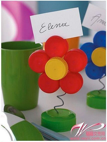 flores con tapas de plastico