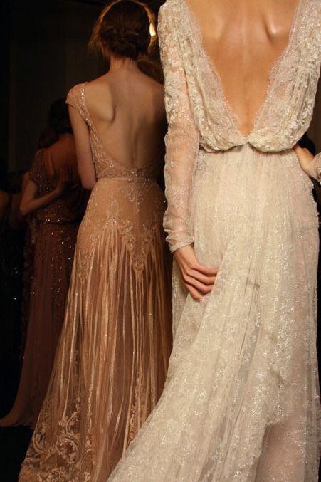 lace :: open back :: wedding dress :: bridal :: bride :: ivory :: blush :: detail :: train :: romantic ::