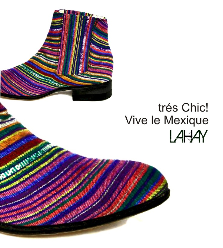 Contemporary look of mexican icons: botines and colorful stripes look alike Sarape de Saltillo