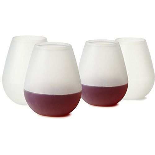 Freshlove Silicone Wine Glasses  12oz the Unbreakable Wine Walker Flexible Plastic Stemless Cups  Best for Pool or BBQ  Shatterproof  Reusable  Makes a Great Wine Gift  Bulk Set of 4 * Click image to review more details.