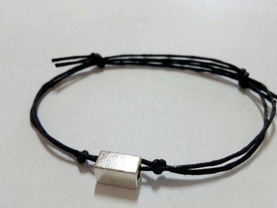 pulsera de los hombres de tubo rectangular cable de cera