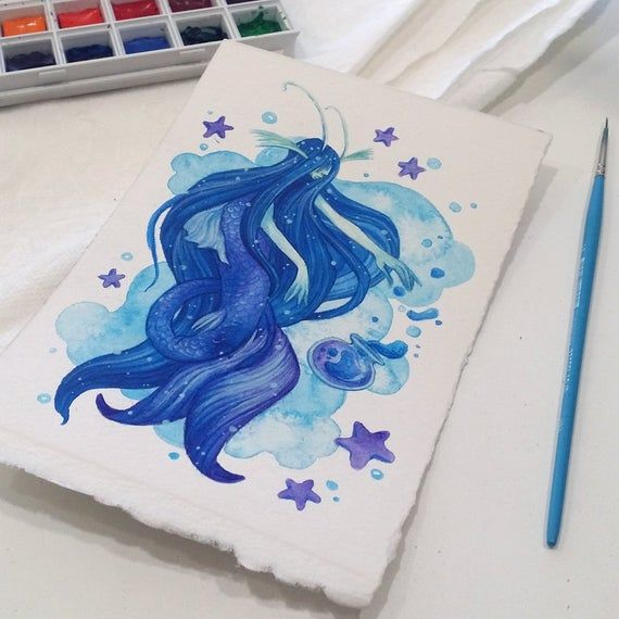Watercolor Painting Saltwater Alchemy Magical Mermaid Fantasy