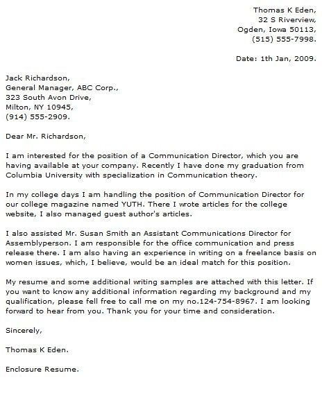 Application Letter Cover For Fresh Graduate Medical Technologist Regarding Applic Application Letter Sample Cover Letter For Resume Cover Letter For Internship