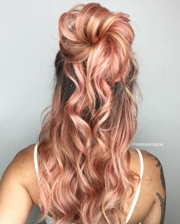"""3,575 Likes, 29 Comments - Hair Makeup Nails Beauty (@hotonbeauty) on Instagram: """"  Peachy Queen   by @stephygnarstagram Beautiful and unique hair color and style Stephany! …"""""""