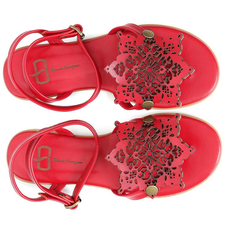 Flat sandals inspired by Persian culture. Made from natural red leather and…