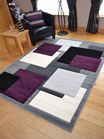Tempo Silver Purple Square Design Thick Quality Modern Carved Rugs. Available in 6 Sizes (120cm x 170cm)