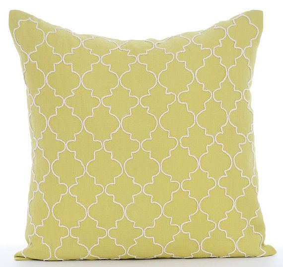 Green Geometric - 16 x16 Jute Embroidered Green Linen Throw Pillow.