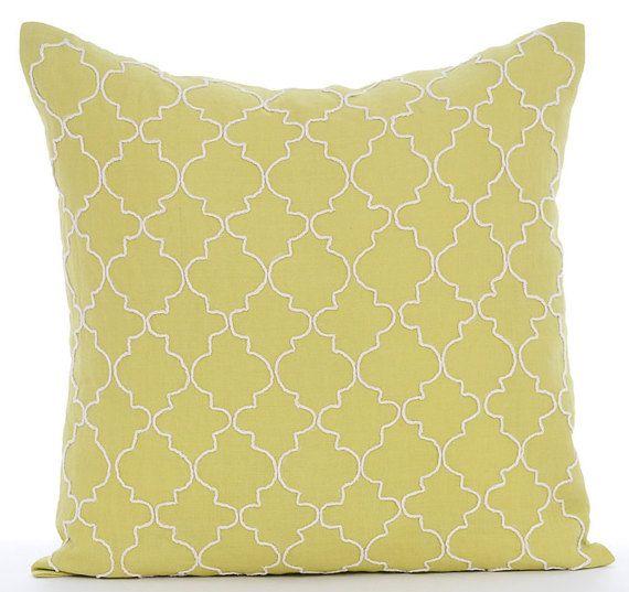 Green Geometric - 16 x16 Jute Embroidered Green Linen Throw Pillow.