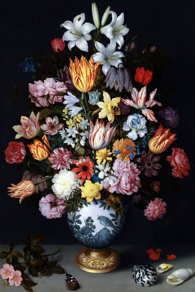 A Still Life of Flowers in a Wan-Li Vase Mural