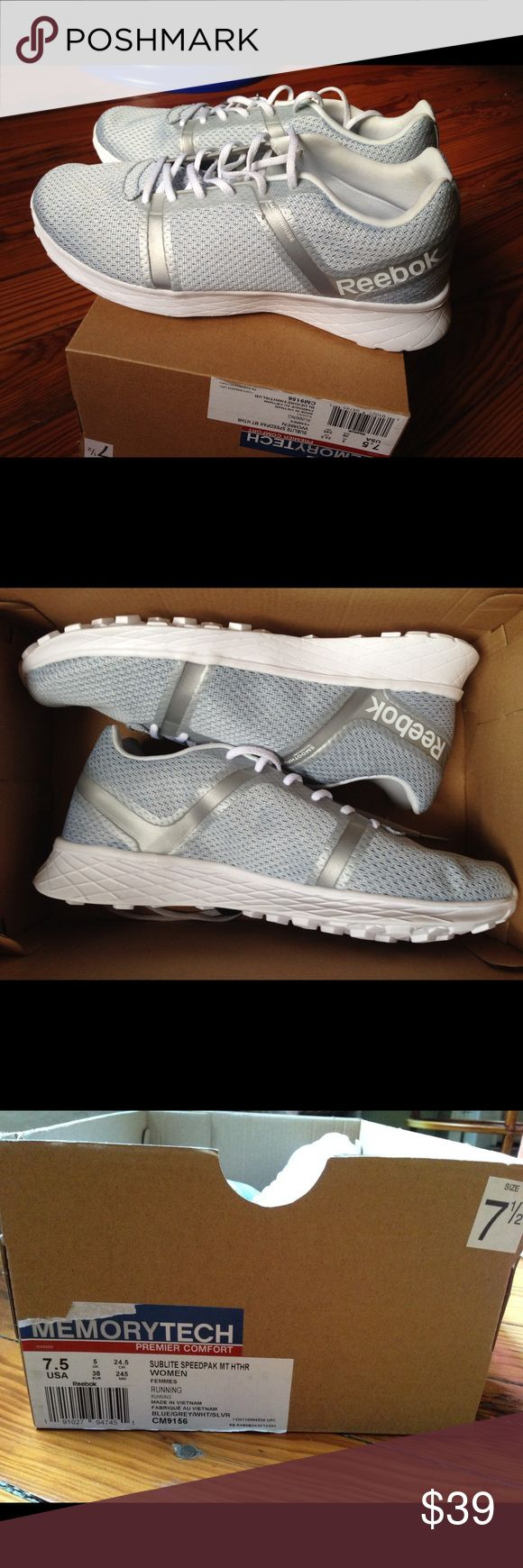 Women's Reebok Running Sneakers, Size 7.5 Never worn! Reebok Sublite Speedpak 2 lightweight running sneakers. I own these in a different size and they're incredibly comfortable. Light blue with silver accent color. Thanks for visiting! Reebok Shoes Athletic Shoes