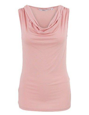 Roze basis mouwloze top met een watervalhals. De schouders zijn voorzien van een sierlijke rimpeling. Het is een getailleerd model, gemaakt van soepele stof. Heuplengte.  #zomercollectie #zomerkledingdames #zomerkleding