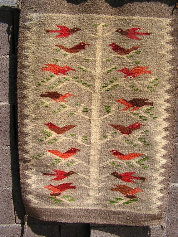 Vintage Navajo Rug Native American Indian Wool By