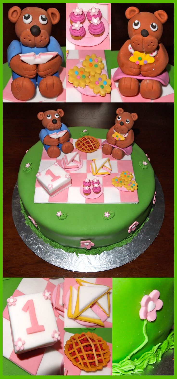 The cake that I made for my daughters 1st birthday cake. Teddy bears picnic cake with sugarcraft bears and food.