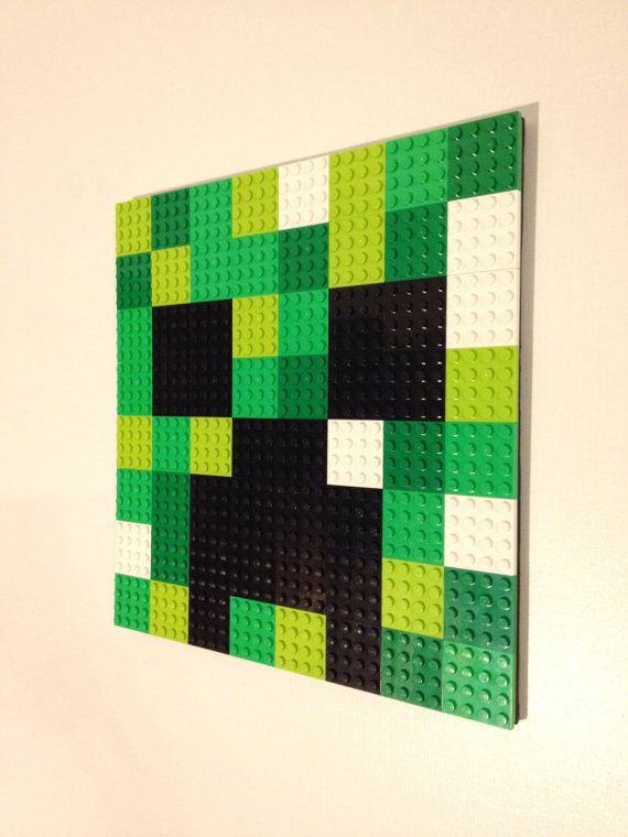 pink heart jewelry Minecraft Inspired LEGO Wall Art Creeper Hanging Picture, Pixel 8 Bit Mosaic, Bedroom, Game Room Decor, Decoration, Painting