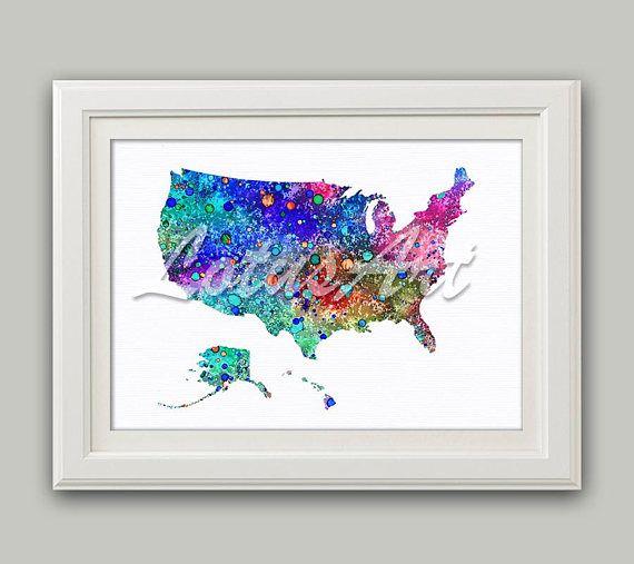 Colorful United States Map Print Usa Map Wall Art Usa Watercolor
