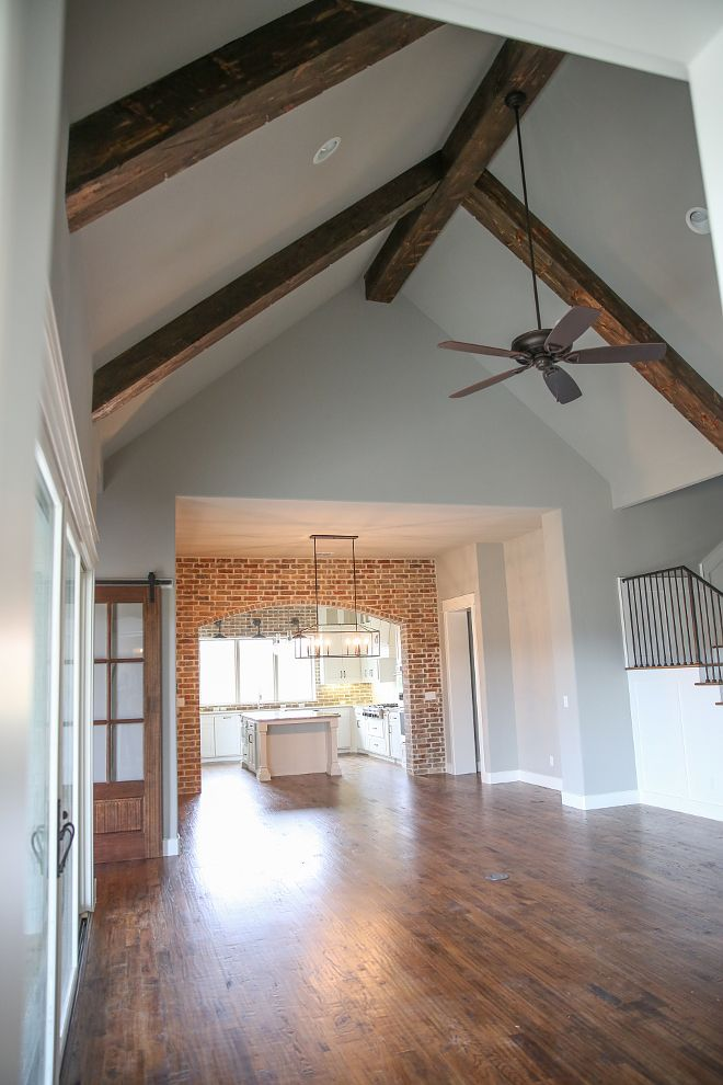 Farmhouse Interior Design Ideas decorating farmhouse style Oh But That Brick Accent And Those Beams Are Giving Me All The Farmhouse Grey Paint Farmhouse Interiorthe Farmhousefarmhouse Decorceiling