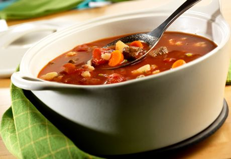 Yum... you can ladle up this flavorful, homemade beef and vegetable soup in just 30 minutes.