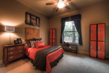 Basketball bedroom - corkboard for medals and ribbons is a neat headboard idea.