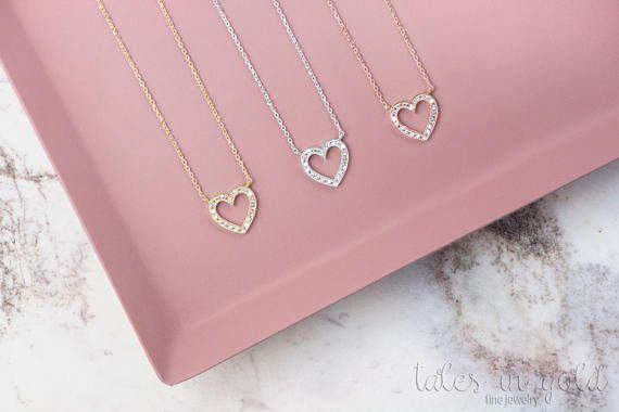 Diamond Heart Necklace 14k Gold Necklace White Gold Diamond