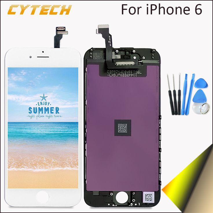 Aaaa kualitas tinggi tidak ada mati piksel untuk apple iphone 6 Layar Sentuh LCD Penggantian Dengan Digitizer 4.7 inches Putih hitam