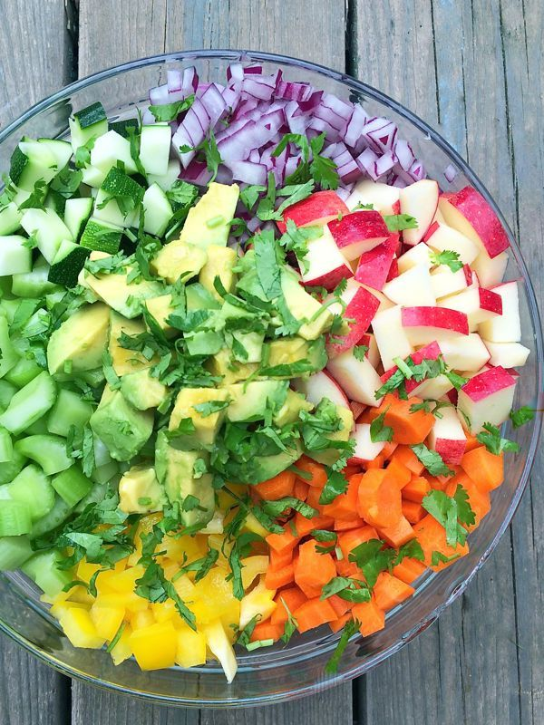 Rainbow Chopped Salad with Apples and Avocados - The Lemon Bowl #salad #apples #avocado