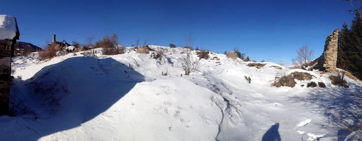 The abandoned village above St. Marcellin on the Col de Vars, sadly somewhat obscured by 40 cm of snow