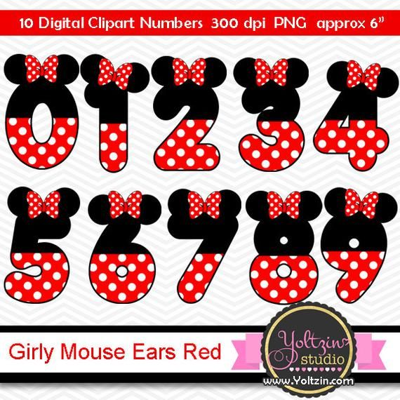 Minnie Mouse Clipart Numbers Ears Red Black Age Digital Clip Etsy Minnie Mouse Clipart Mickey Mouse Clipart Minnie Mouse
