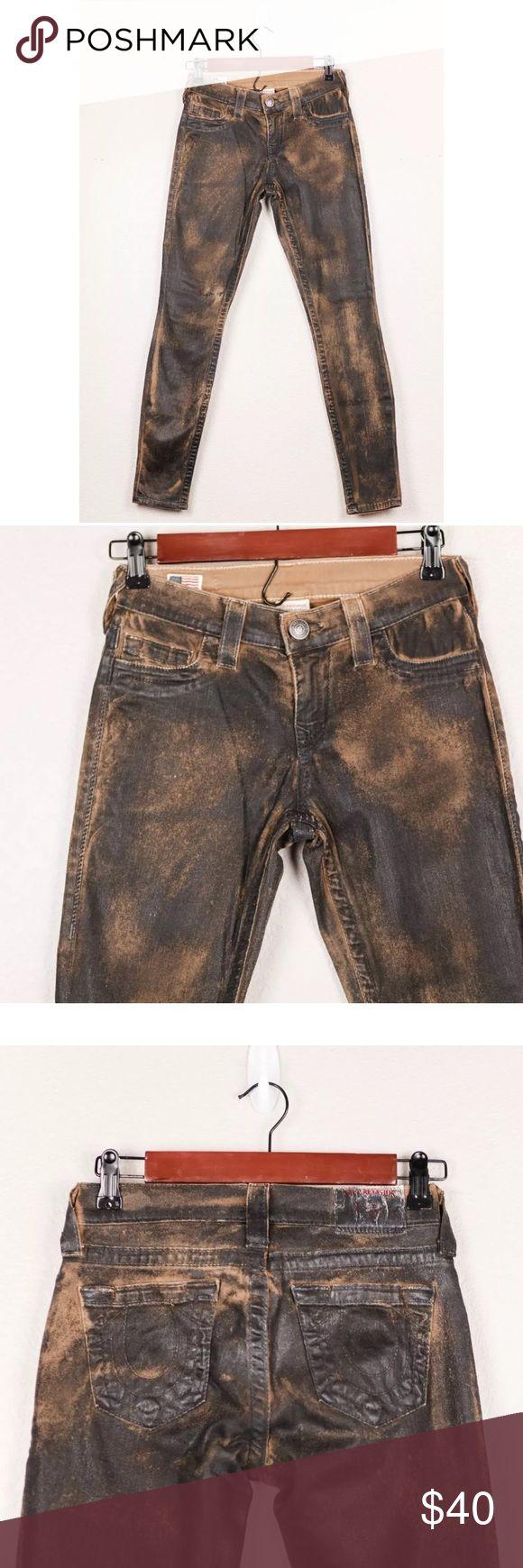 True Religion Black Brown Super Skinny Color Jeans True Religion Women's Mid Rise Burnt Black Brown Super Skinny Colored Jeans 24  Waist: 12 Length: 38 Inseam: 30 True Religion Jeans Skinny
