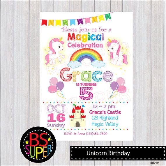 Invitación del cumpleaños del arco iris unicornio arco iris