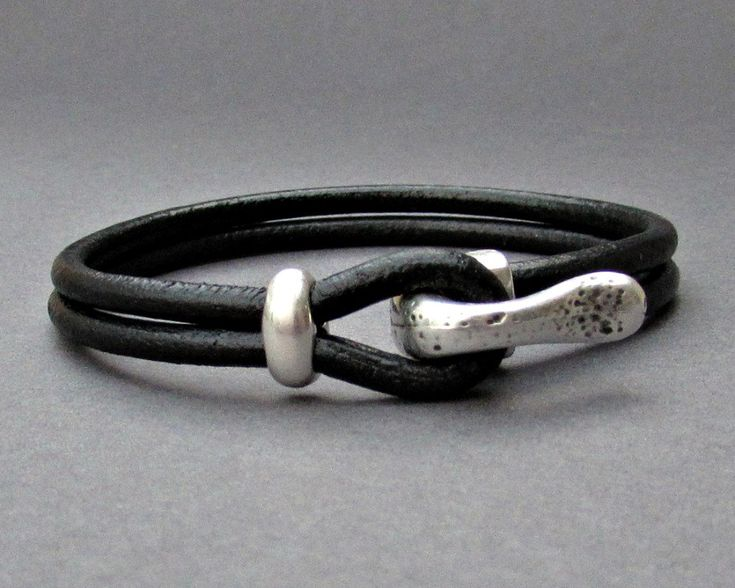 Silver Hook Mens Bracelet, Leather Bracelet, Antique Silver Plated, Customized On Your Wrist