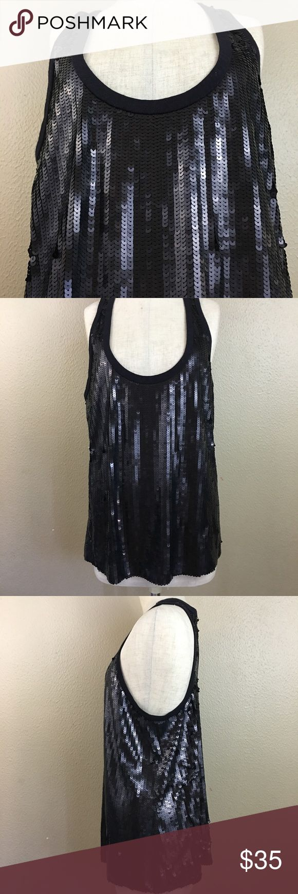 Seven for all Mankind Sequin tank Top Black Black Sequin Top by Seven for all Mankind sz L perfect for your next date night or concert. In Excellent Condition Sku#002008002500710 Seven for all Mankind Tops Tank Tops