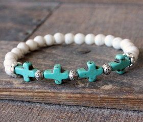 White Turquoise Cross Stretch Bracelet
