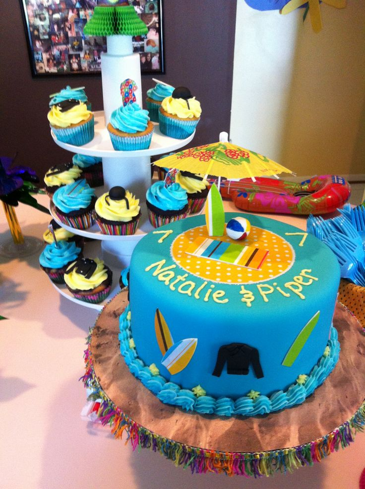 Teen Beach Movie themed cake and cupcakes