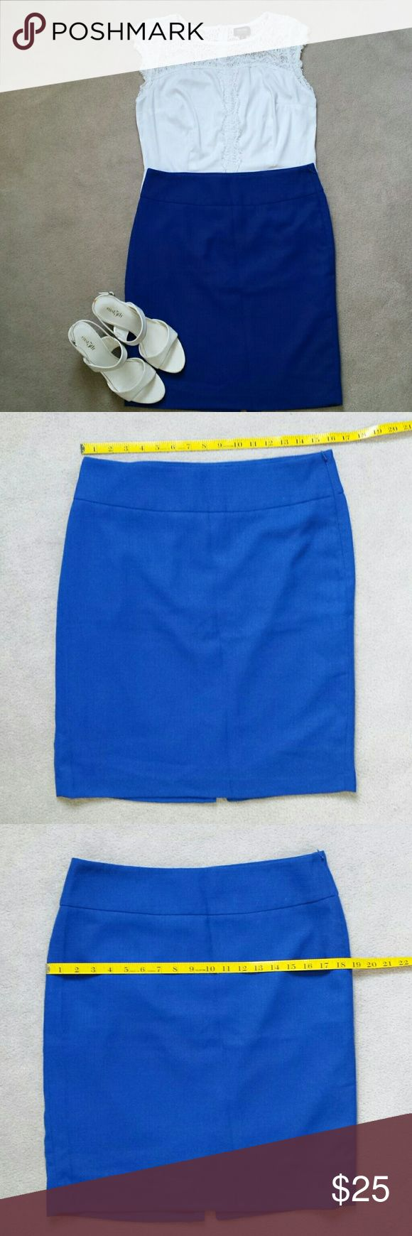 The Limited Royal Blue Pencil Skirt The Limited Royal Blue Pencil Skirt. Side zipper with hook and eye close. Fully lined. Back vent.  Outshell : 76% polyester & 24% viscose rayon  Lining: 100% polyester   Great condition. No rips, stains, or imperfections. Smoke free house.   Reasonable offers are accepted and I discount bundles. The Limited Skirts Pencil
